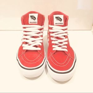 Vans Shoes - Vans sk8 hi hi top checkered shoes white and coral
